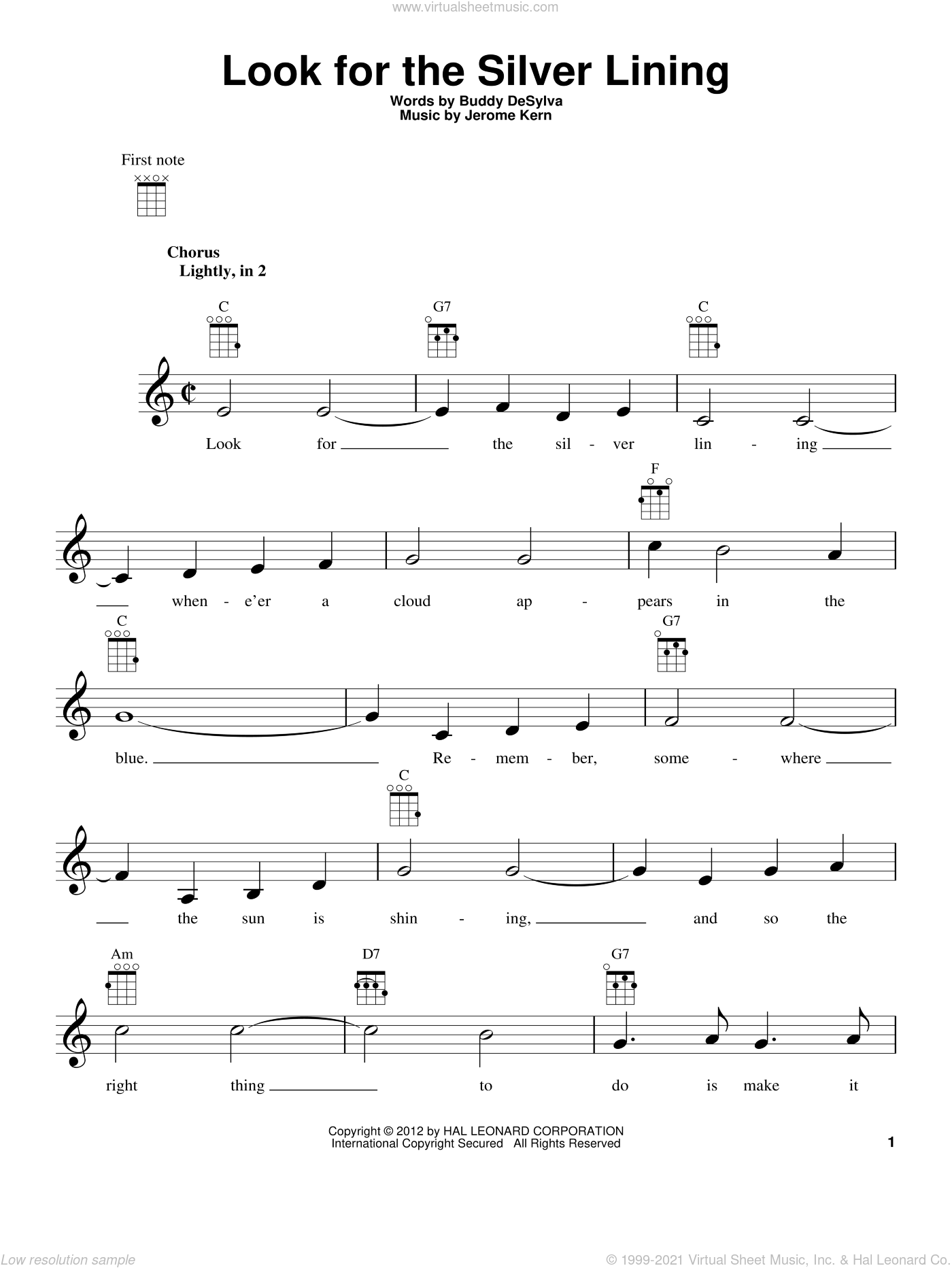 Look For The Silver Lining sheet music for ukulele by Buddy DeSylva and Jerome Kern. Score Image Preview.