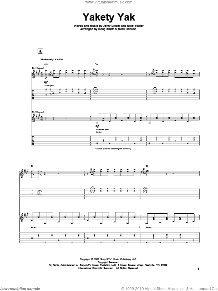 Yakety Yak sheet music for guitar solo by Leiber & Stoller, The Coasters, Jerry Leiber and Mike Stoller, intermediate skill level