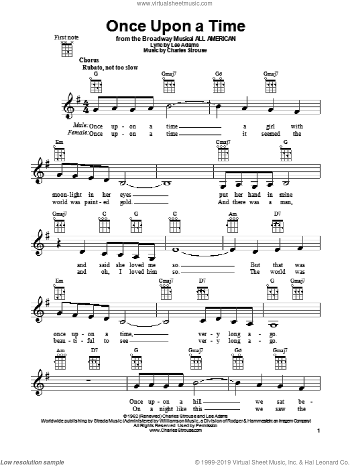 Once Upon A Time sheet music for ukulele by Charles Strouse and Lee Adams, intermediate skill level