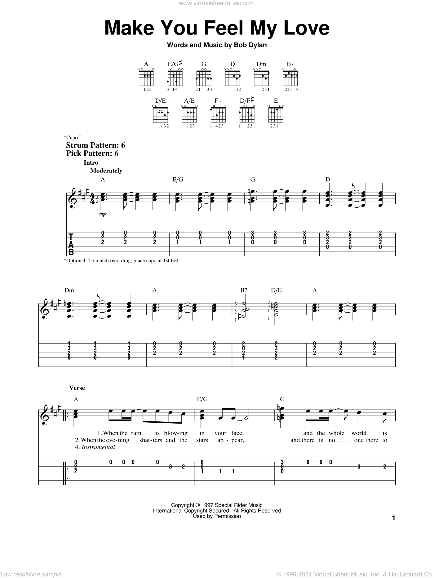 Make You Feel My Love sheet music for guitar solo (easy tablature) by Bob Dylan and Adele. Score Image Preview.