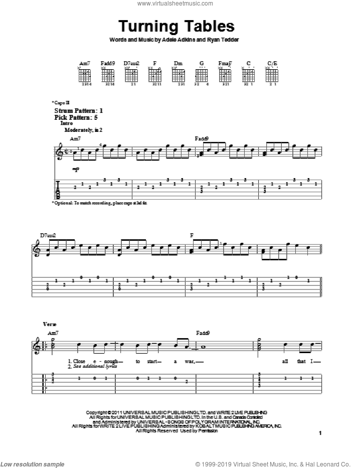 Turning Tables sheet music for guitar solo (easy tablature) by Adele, Adele Adkins and Ryan Tedder, easy guitar (easy tablature). Score Image Preview.