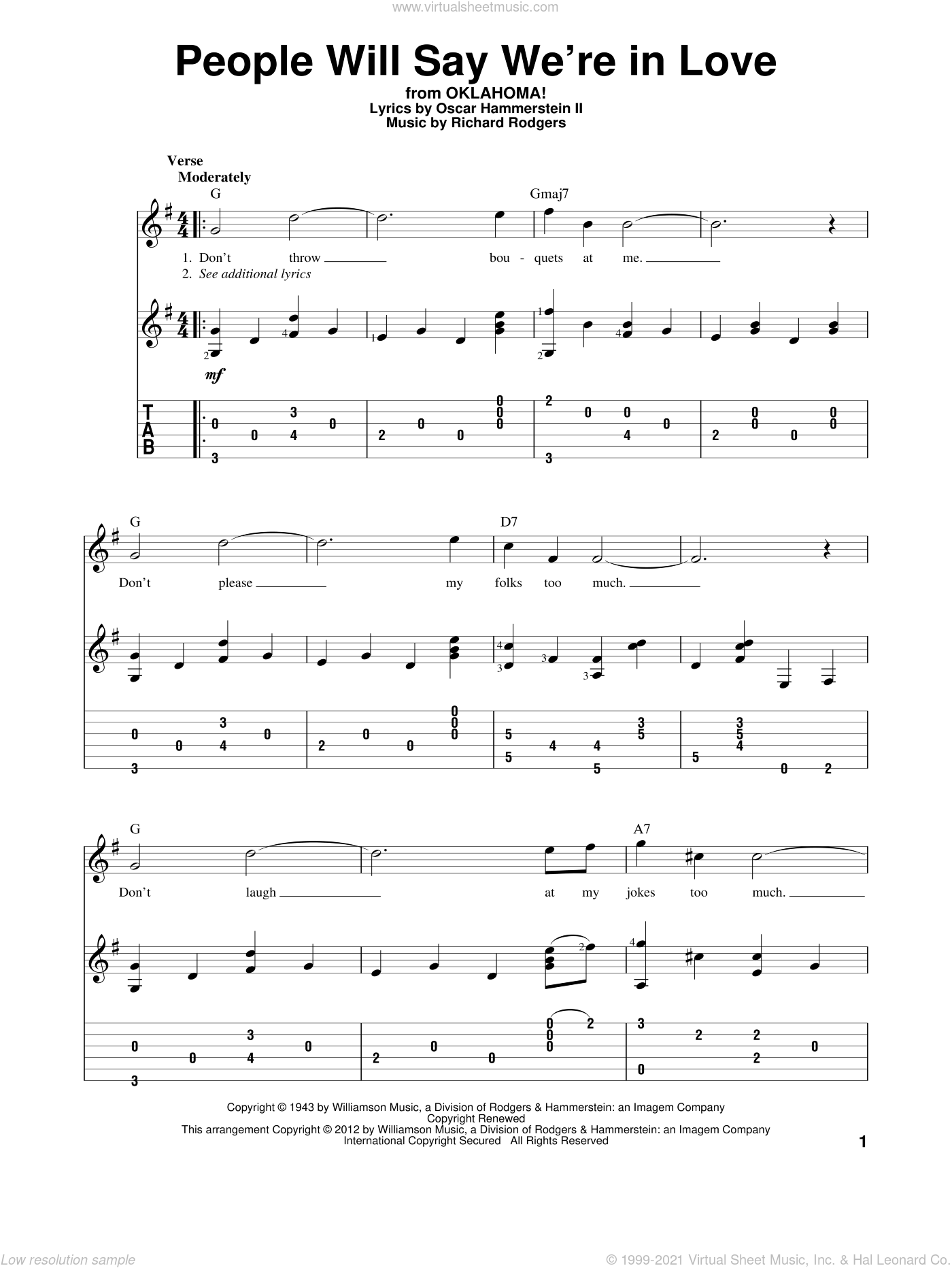 People Will Say We're In Love sheet music for guitar solo by Richard Rodgers, Rodgers & Hammerstein and Oscar II Hammerstein. Score Image Preview.