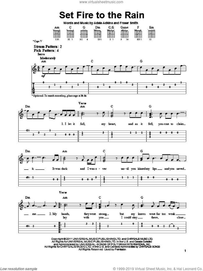 Set Fire To The Rain sheet music for guitar solo (easy tablature) by Adele. Score Image Preview.