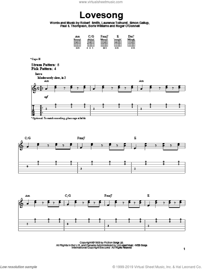 Lovesong sheet music for guitar solo (easy tablature) by Simon Gallup
