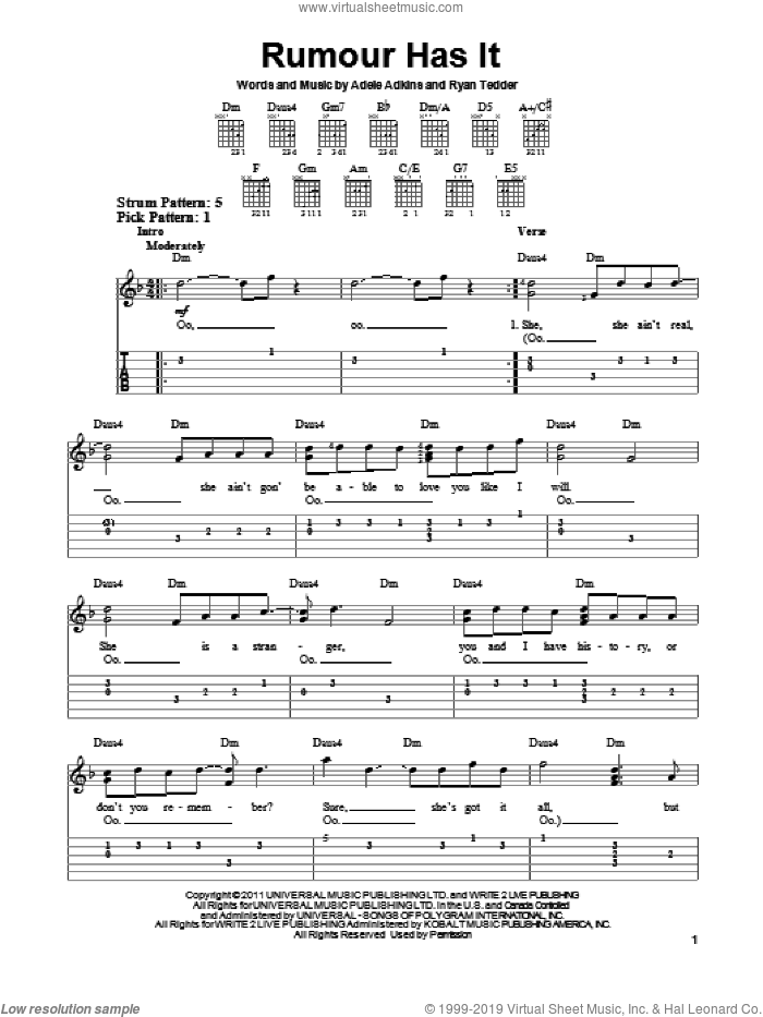 Rumour Has It sheet music for guitar solo (easy tablature) by Adele, Adele Adkins and Ryan Tedder, easy guitar (easy tablature)