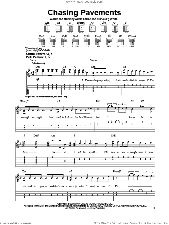Chasing Pavements sheet music for guitar solo (easy tablature) by Adele, Adele Adkins and Francis White, easy guitar (easy tablature). Score Image Preview.