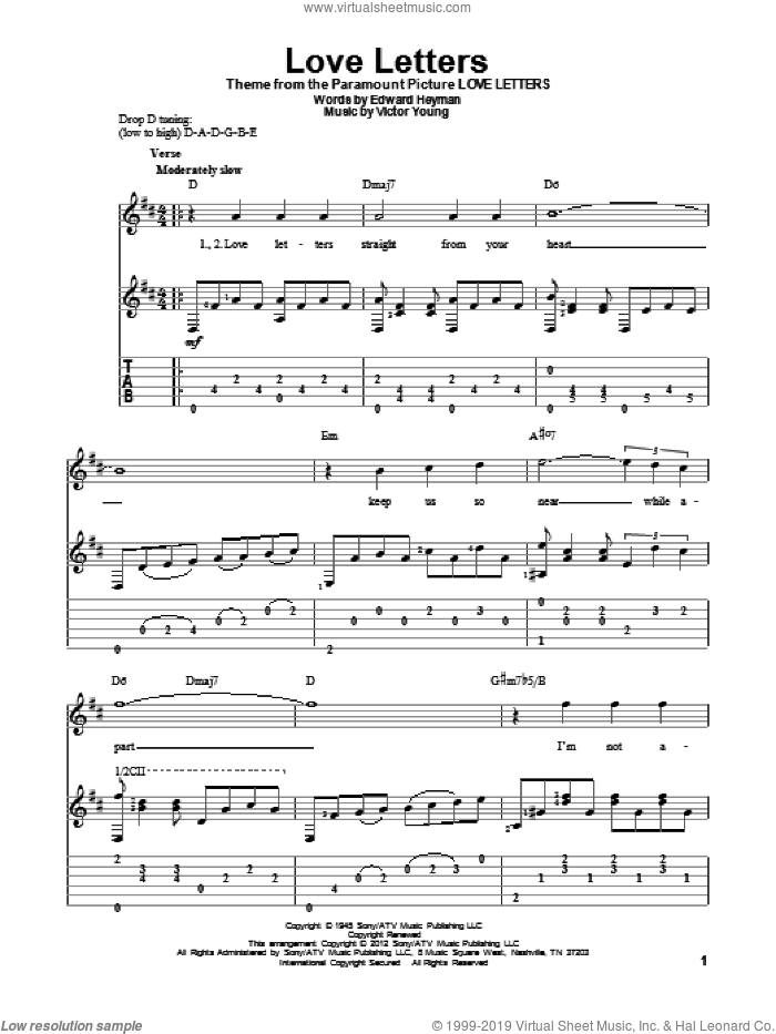 Love Letters sheet music for guitar solo by Edward Heyman and Victor Young, intermediate. Score Image Preview.