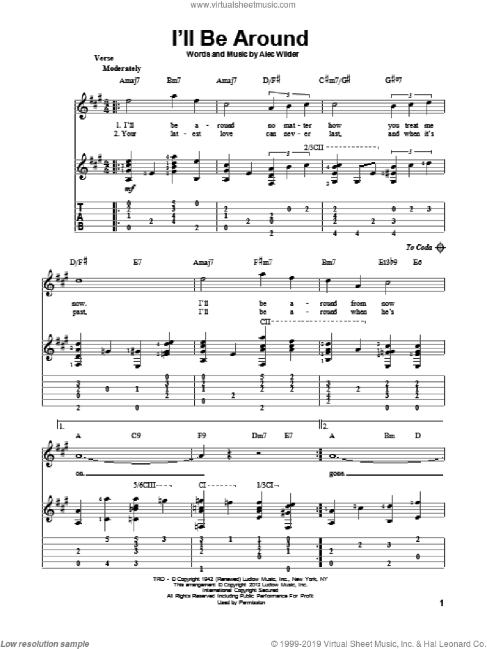 I'll Be Around sheet music for guitar solo by The Mills Brothers and Alec Wilder, intermediate guitar. Score Image Preview.