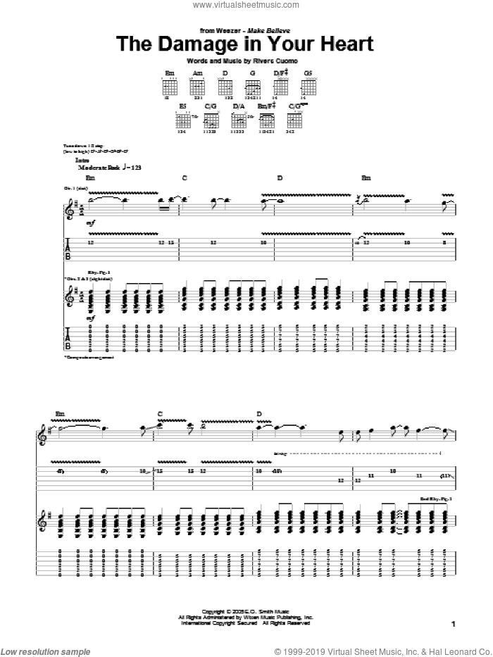 The Damage In Your Heart sheet music for guitar (tablature) by Rivers Cuomo and Weezer. Score Image Preview.