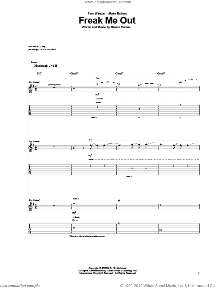 Freak Me Out sheet music for guitar (tablature) by Rivers Cuomo and Weezer. Score Image Preview.