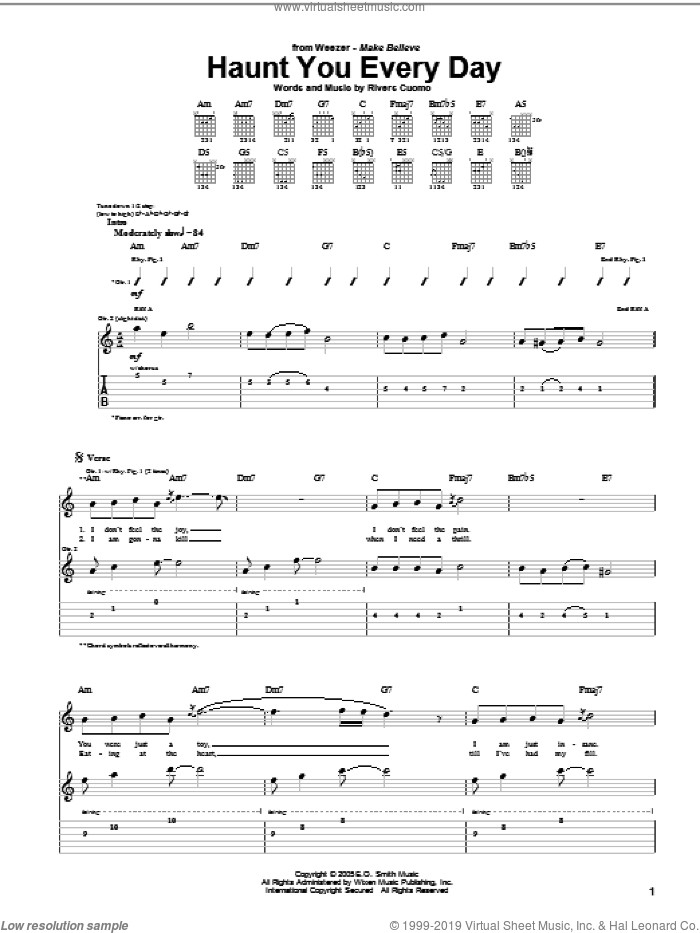 Haunt You Every Day sheet music for guitar (tablature) by Rivers Cuomo and Weezer. Score Image Preview.
