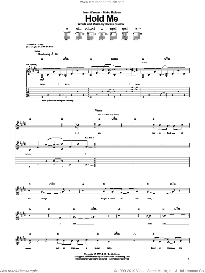 Hold Me sheet music for guitar (tablature) by Weezer. Score Image Preview.