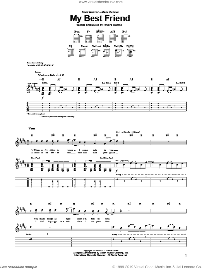 My Best Friend sheet music for guitar (tablature) by Weezer and Rivers Cuomo, intermediate skill level