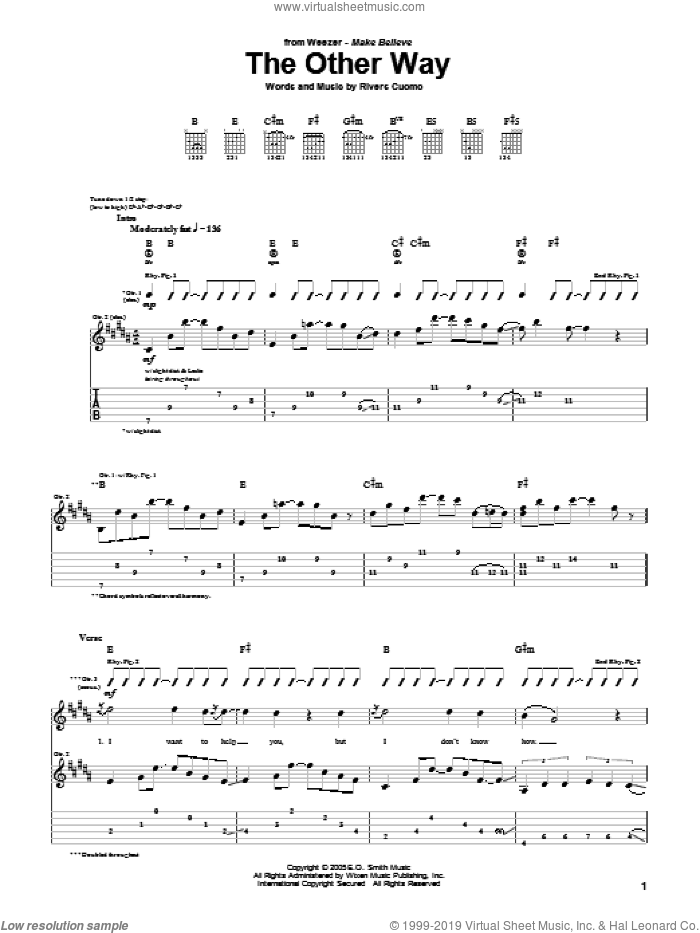 The Other Way sheet music for guitar (tablature) by Weezer. Score Image Preview.