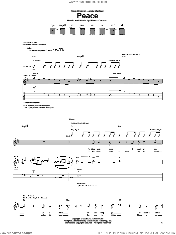 Peace sheet music for guitar (tablature) by Rivers Cuomo and Weezer. Score Image Preview.