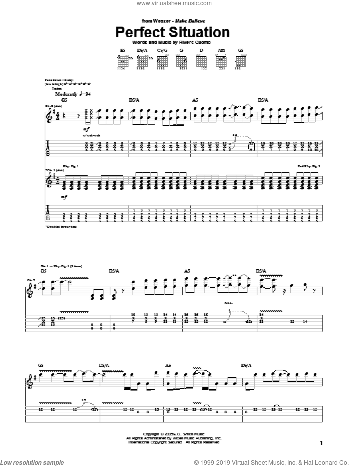 Perfect Situation sheet music for guitar (tablature) by Weezer and Rivers Cuomo, intermediate skill level
