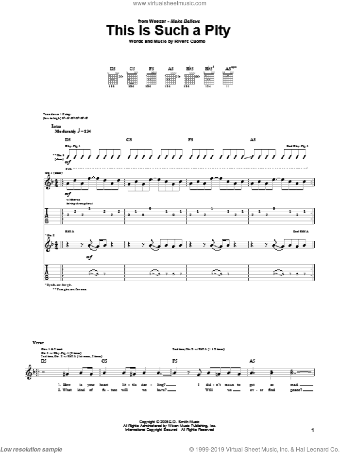 This Is Such A Pity sheet music for guitar (tablature) by Rivers Cuomo and Weezer. Score Image Preview.