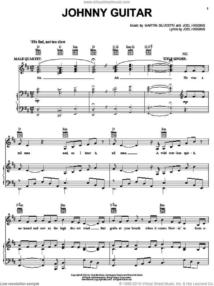 Johnny Guitar sheet music for voice, piano or guitar by Joel Higgins. Score Image Preview.