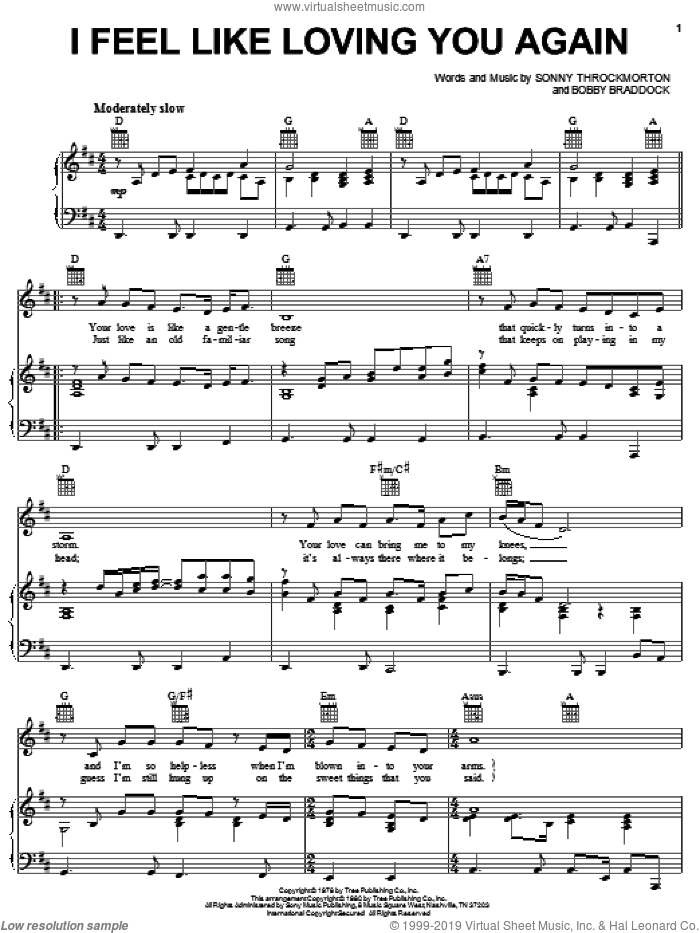 I Feel Like Loving You Again sheet music for voice, piano or guitar by Sonny Throckmorton and Bobby Braddock. Score Image Preview.