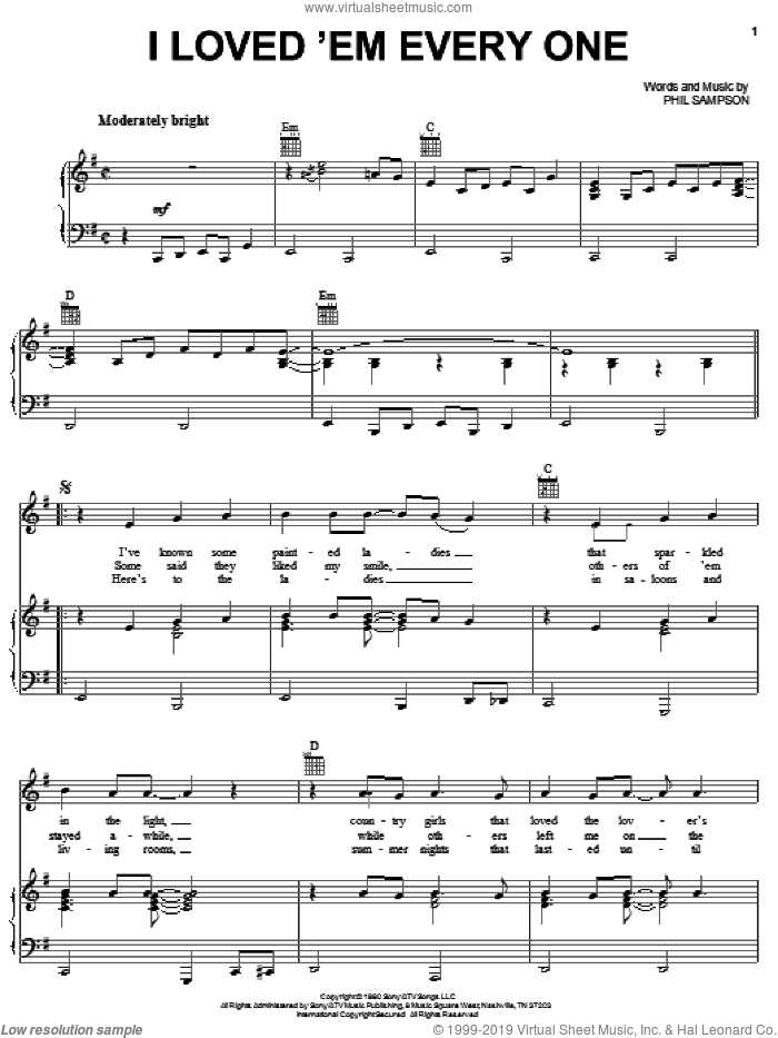 I Loved 'Em Every One sheet music for voice, piano or guitar by T.G. Sheppard and Phil Sampson, intermediate skill level