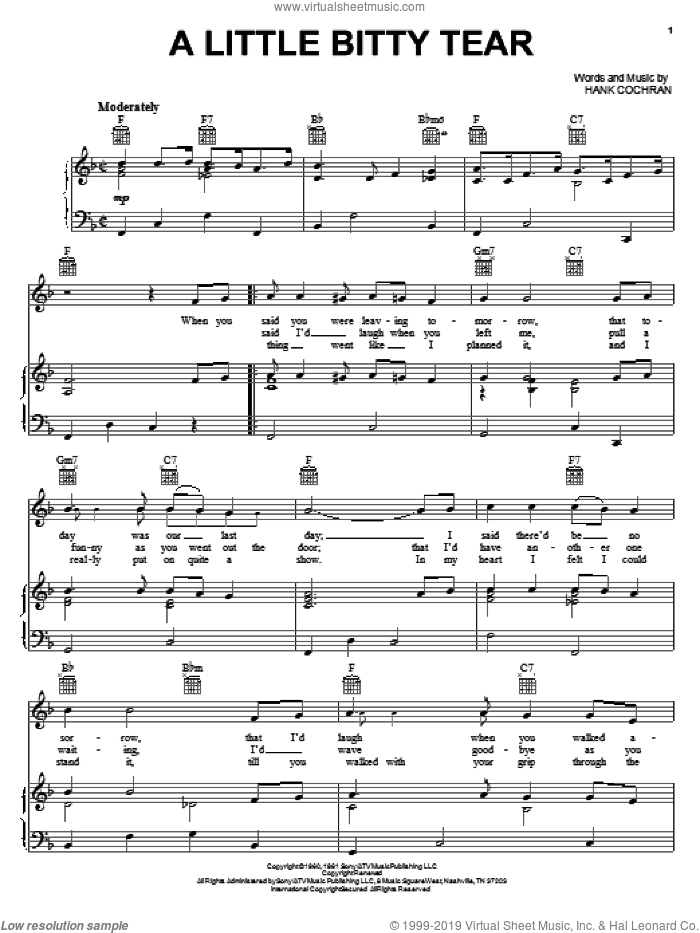 A Little Bitty Tear sheet music for voice, piano or guitar by Hank Cochran