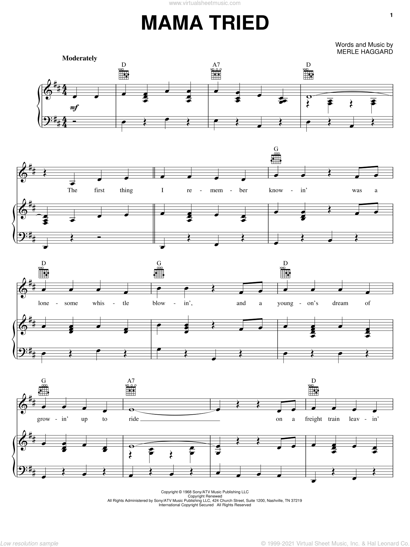 Mama Tried sheet music for voice, piano or guitar by Merle Haggard. Score Image Preview.