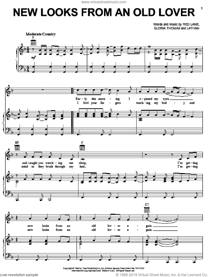 New Looks From An Old Lover sheet music for voice, piano or guitar by Red Lane