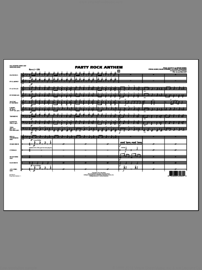 Party Rock Anthem (COMPLETE) sheet music for marching band by Paul Murtha, David Listenbee, Peter Schroeder, Skyler Gordy, Stefan Gordy, LMFAO and Will Rapp, intermediate skill level