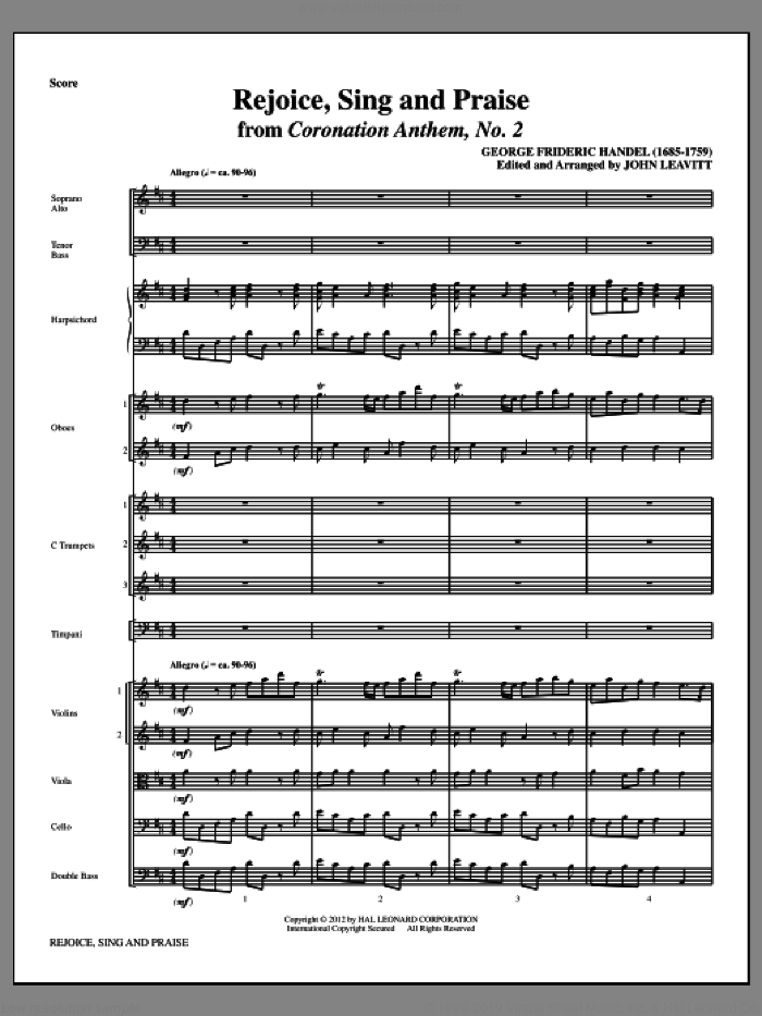 Rejoice, Sing And Praise (complete set of parts) sheet music for orchestra/band (Orchestra) by George Frideric Handel and John Leavitt, intermediate skill level
