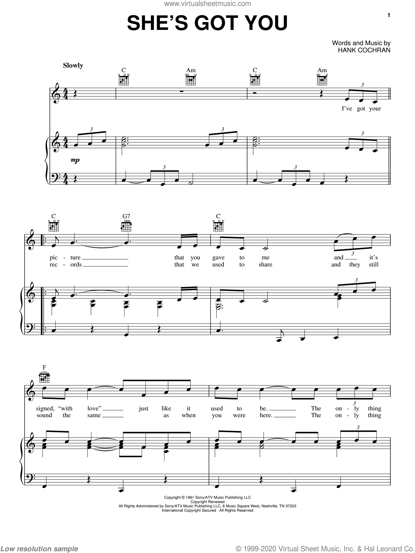 She's Got You sheet music for voice, piano or guitar by Hank Cochran