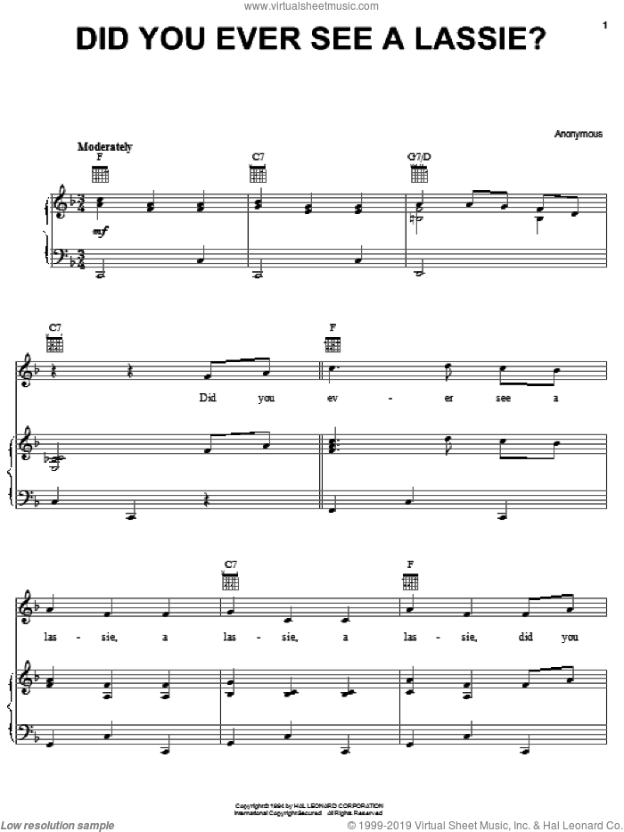 Did You Ever See A Lassie? sheet music for voice, piano or guitar, intermediate skill level