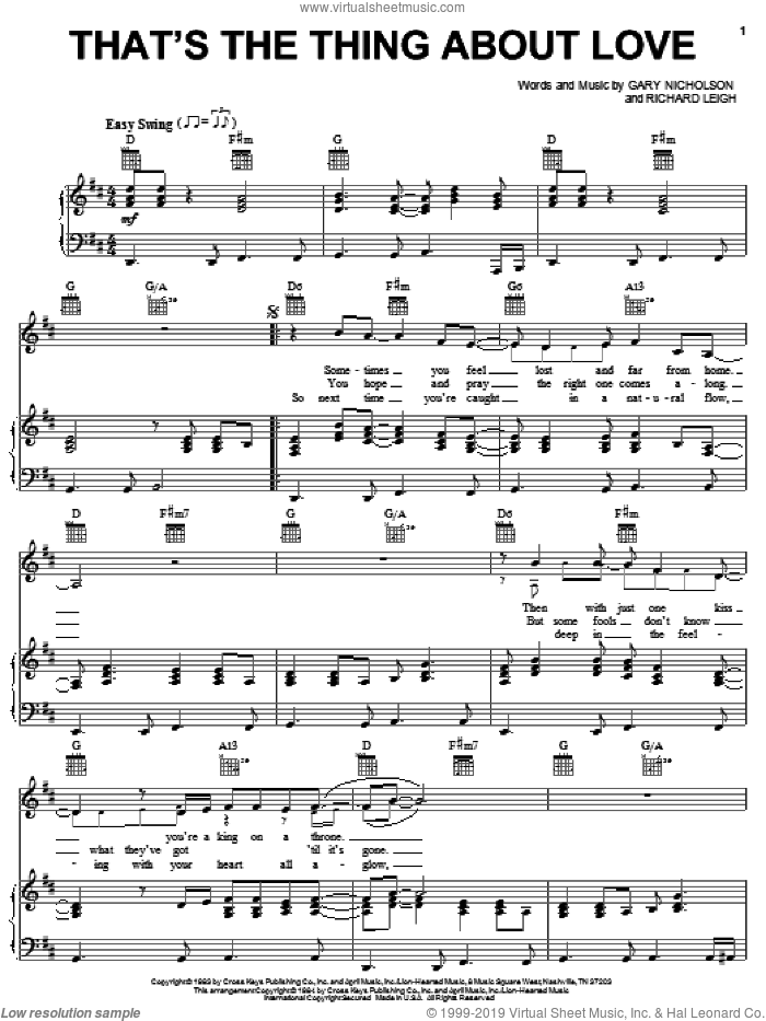 That's The Thing About Love sheet music for voice, piano or guitar by Richard Leigh, Don Williams and Gary Nicholson. Score Image Preview.