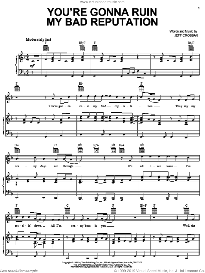You're Gonna Ruin My Bad Reputation sheet music for voice, piano or guitar by Jeff Crossan. Score Image Preview.