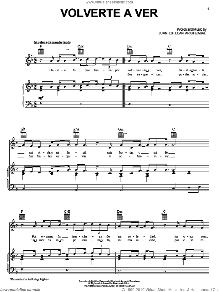Volverte A Ver sheet music for voice, piano or guitar by Juan Esteban Aristizabal. Score Image Preview.