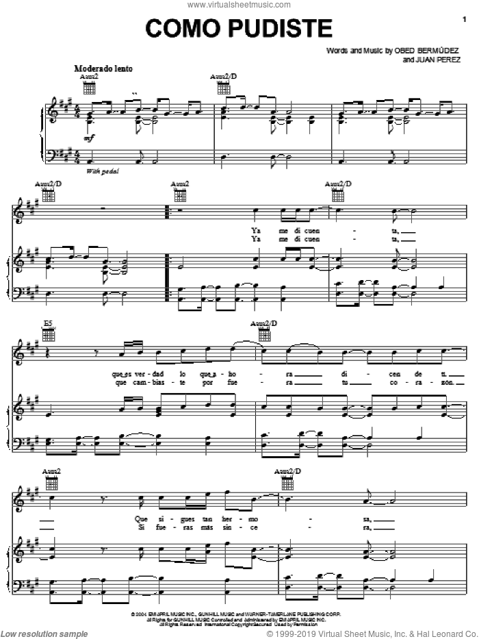 Como Pudiste sheet music for voice, piano or guitar by Obed Bermudez