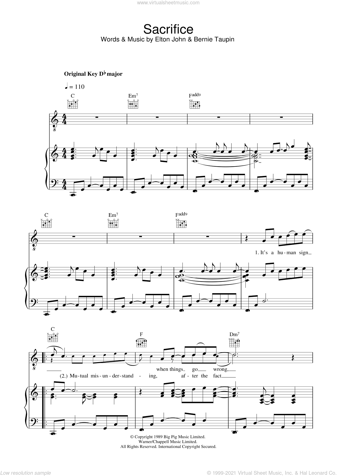 Sacrifice sheet music for voice, piano or guitar by Elton John and Bernie Taupin, intermediate skill level