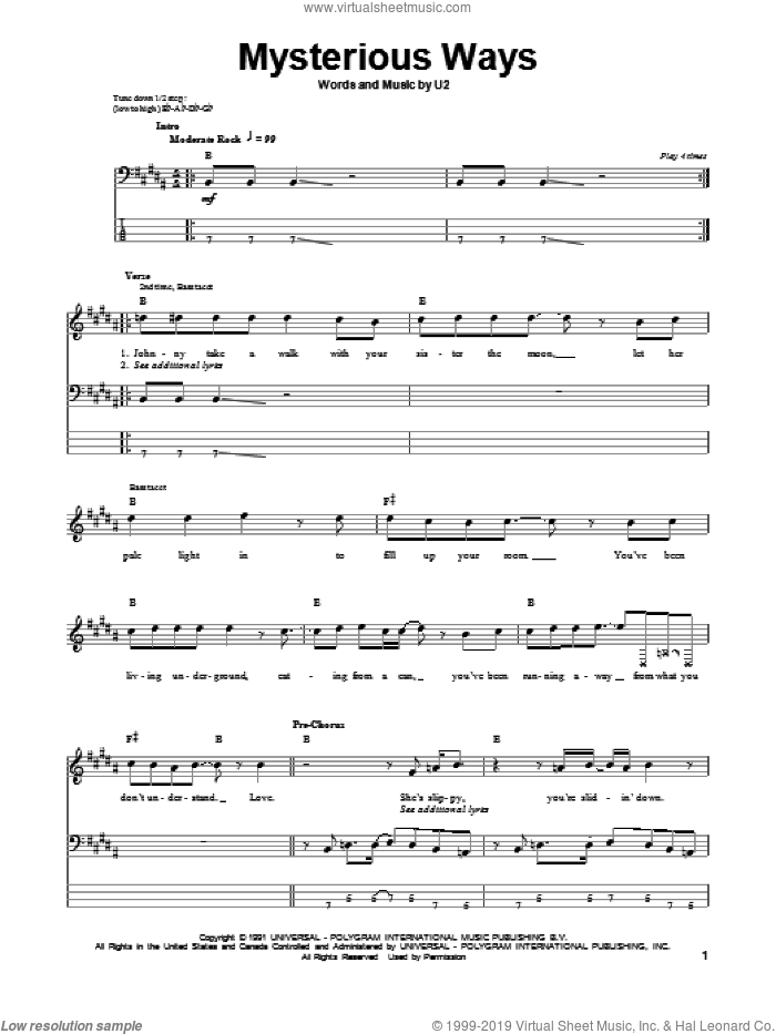 Mysterious Ways sheet music for bass (tablature) (bass guitar) by The Edge