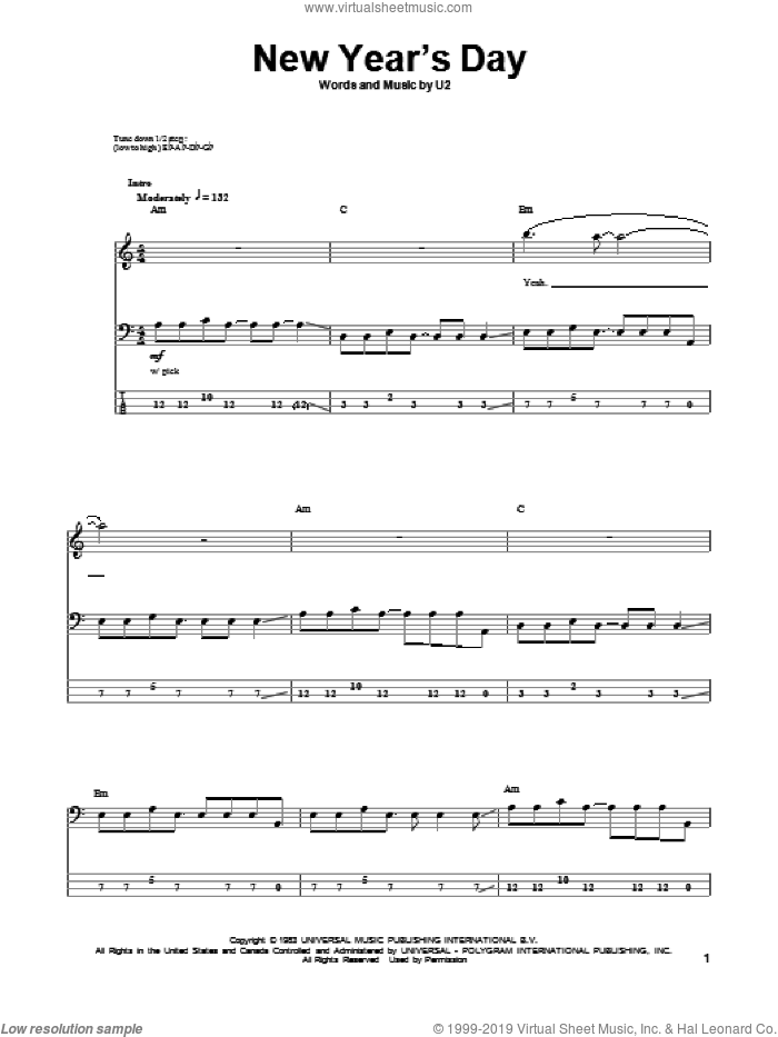 New Year's Day sheet music for bass (tablature) (bass guitar) by U2. Score Image Preview.