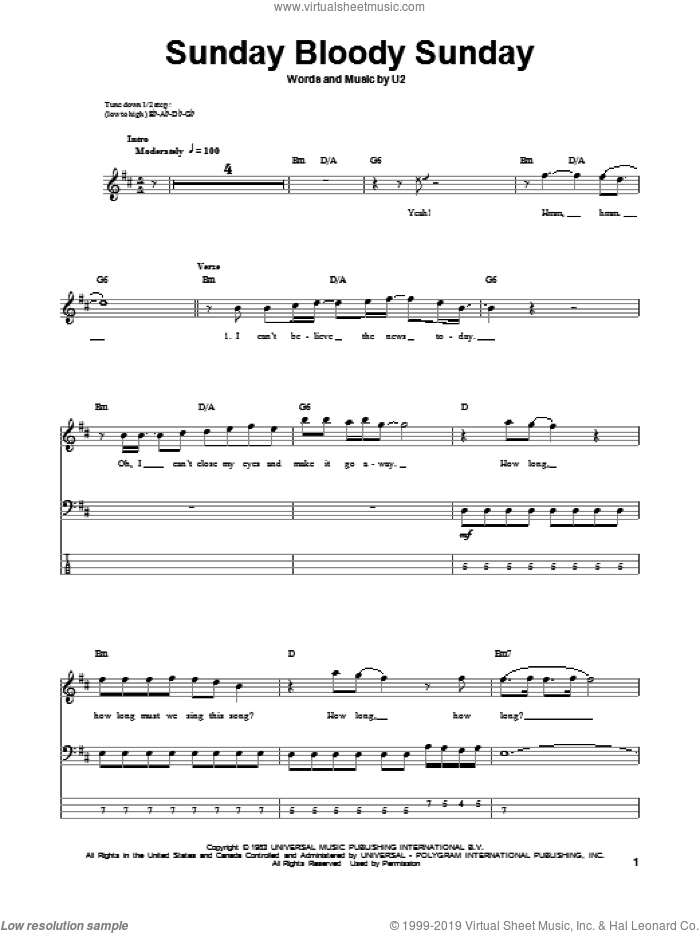 Sunday Bloody Sunday sheet music for bass (tablature) (bass guitar) by U2. Score Image Preview.