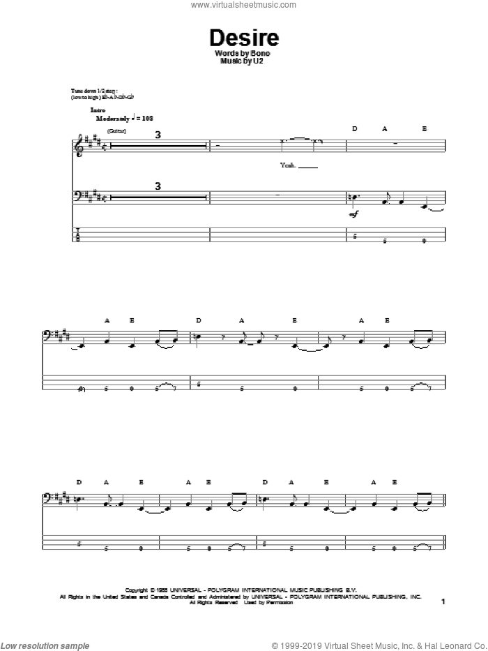 Desire sheet music for bass (tablature) (bass guitar) by Bono and U2. Score Image Preview.