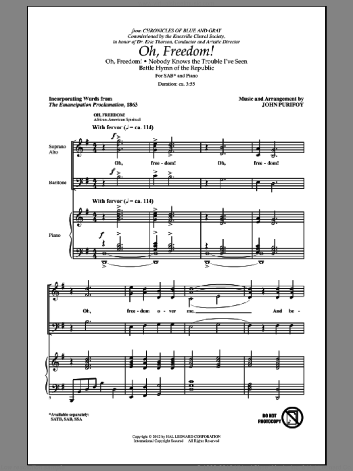 Oh, Freedom! (Medley) sheet music for choir (SAB) by John Purifoy. Score Image Preview.