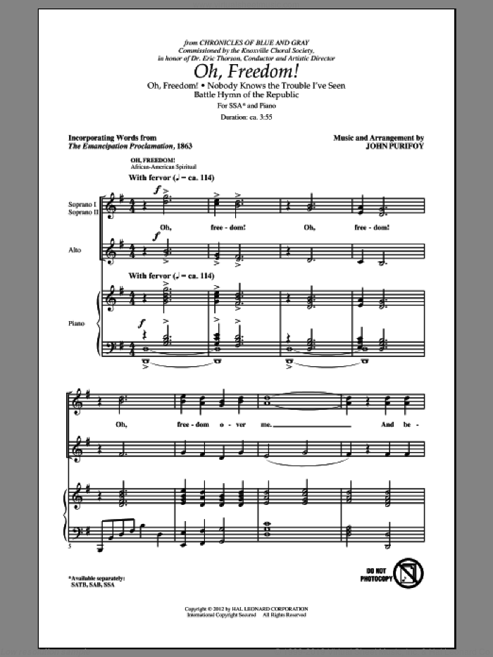 Oh, Freedom! (Medley) sheet music for choir (SSA: soprano, alto) by John Purifoy, intermediate skill level