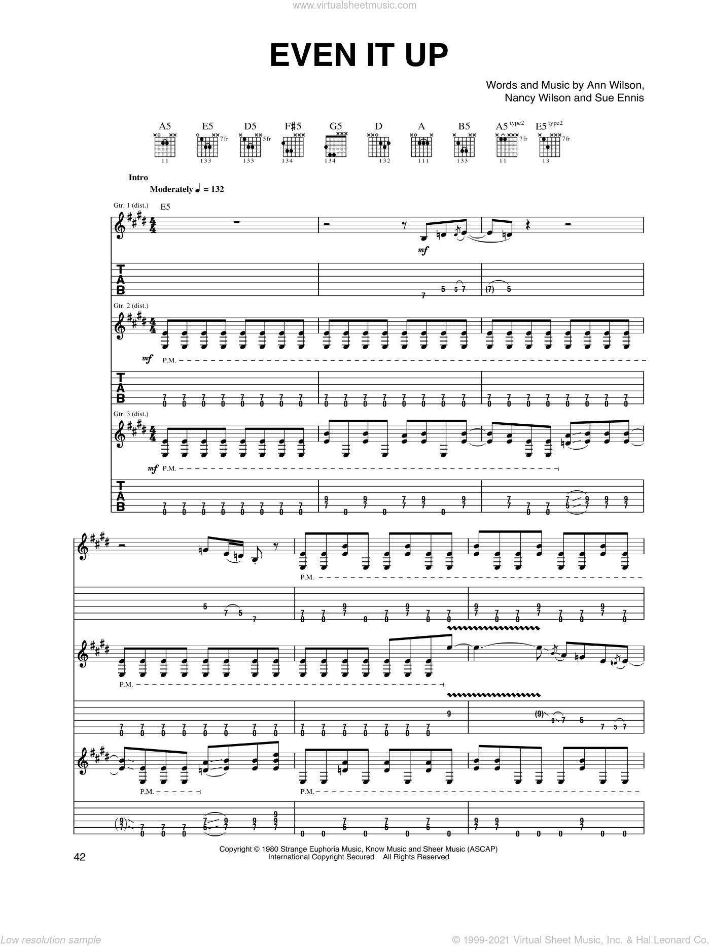 Even It Up sheet music for guitar (tablature) by Heart, Ann Wilson, Nancy Wilson and Sue Ennis. Score Image Preview.
