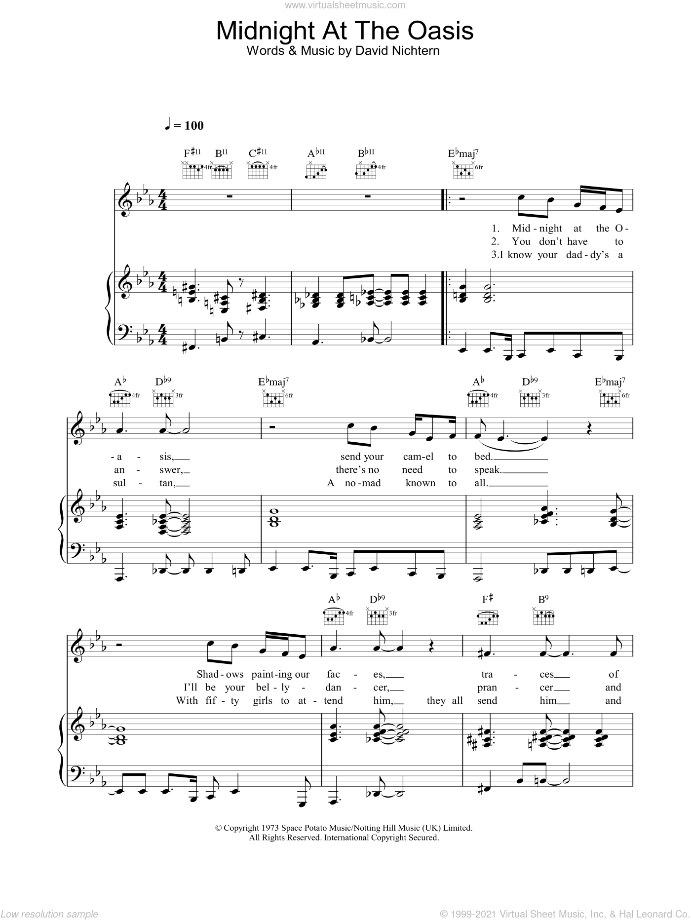 Midnight At The Oasis sheet music for voice, piano or guitar by Maria Muldaur and David Nichtern, intermediate skill level