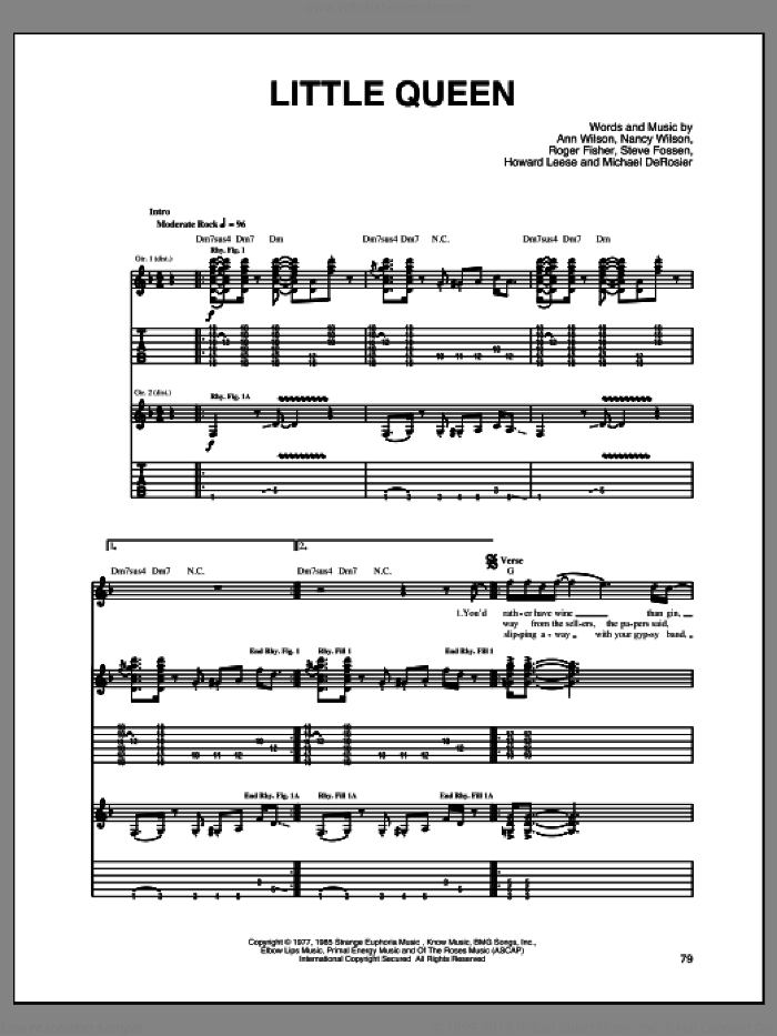 Little Queen sheet music for guitar (tablature) by Steve Fossen, Heart, Ann Wilson, Nancy Wilson and Roger Fisher