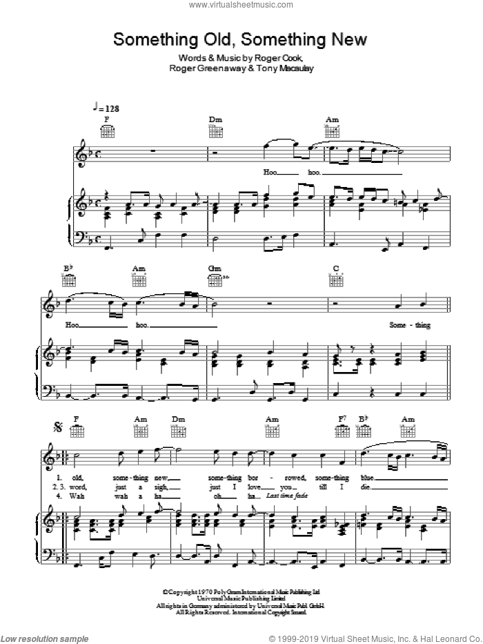 Something Old, Something New sheet music for voice, piano or guitar by Tony Macaulay, Roger Cook and Roger Greenaway. Score Image Preview.