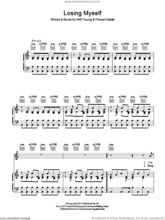 Losing Myself sheet music for voice, piano or guitar by Will Young and Pascal Gabriel, intermediate voice, piano or guitar. Score Image Preview.