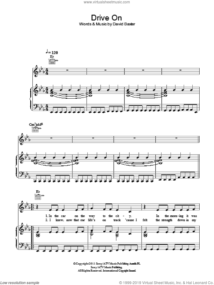 Drive On sheet music for voice, piano or guitar by David Baxter