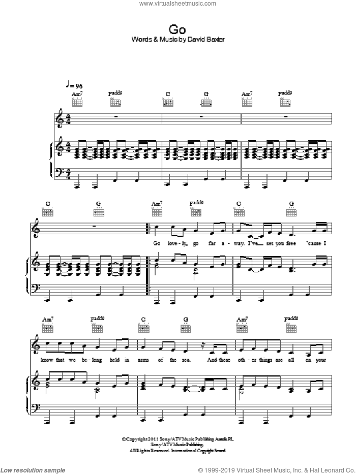 Go sheet music for voice, piano or guitar by David Baxter