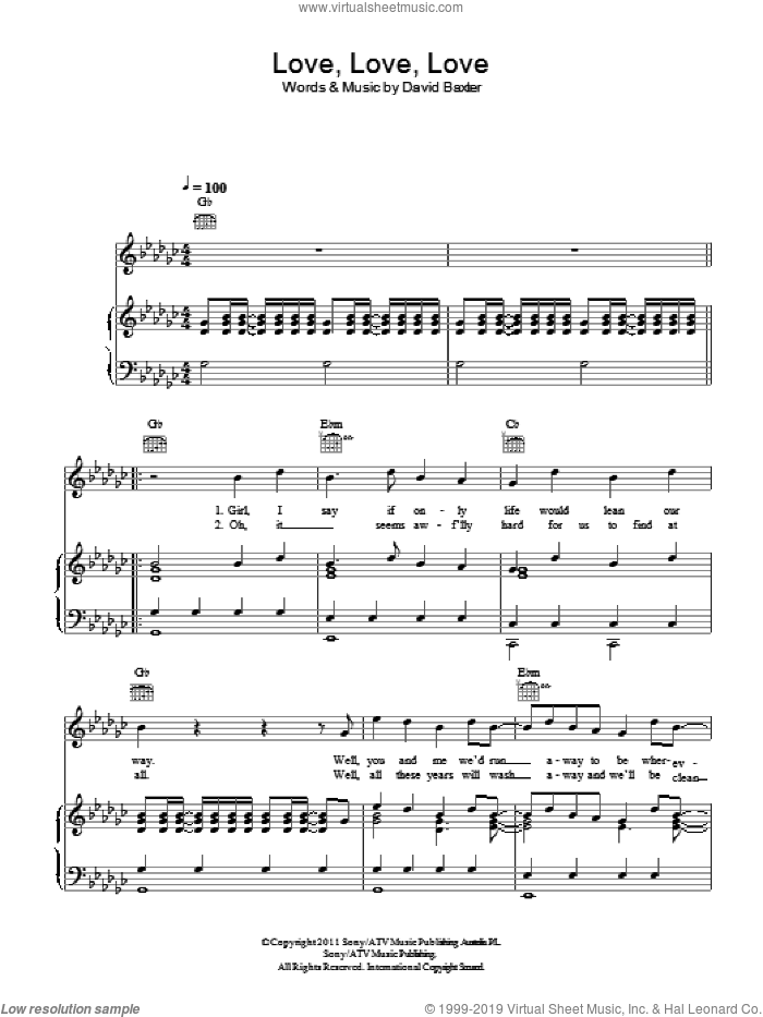 Love, Love, Love sheet music for voice, piano or guitar by David Baxter. Score Image Preview.